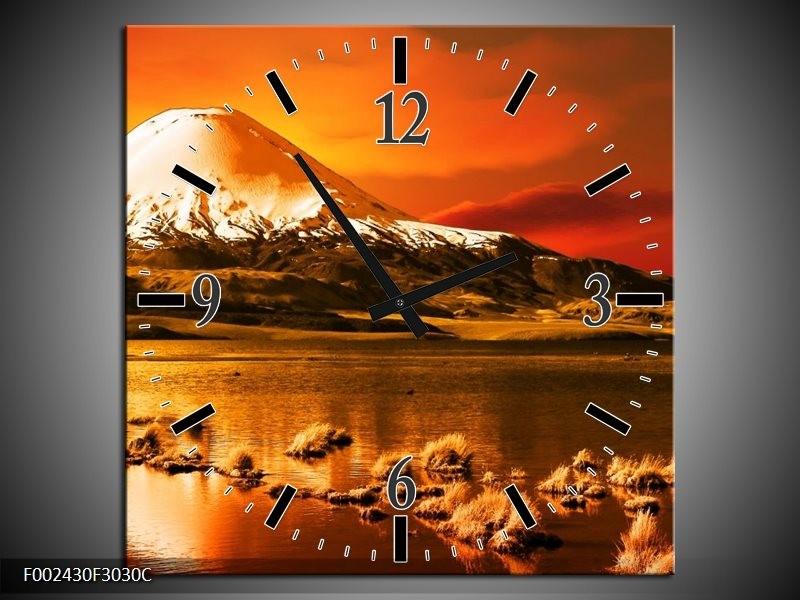 Wandklok op Canvas Bergen   Kleur: Oranje, Wit, Zwart   F002430C