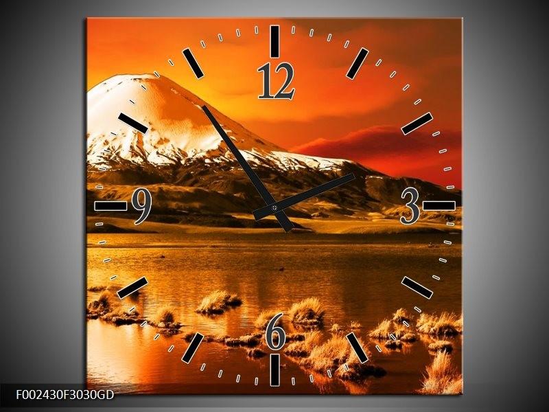 Wandklok op Glas Bergen | Kleur: Oranje, Wit, Zwart | F002430CGD