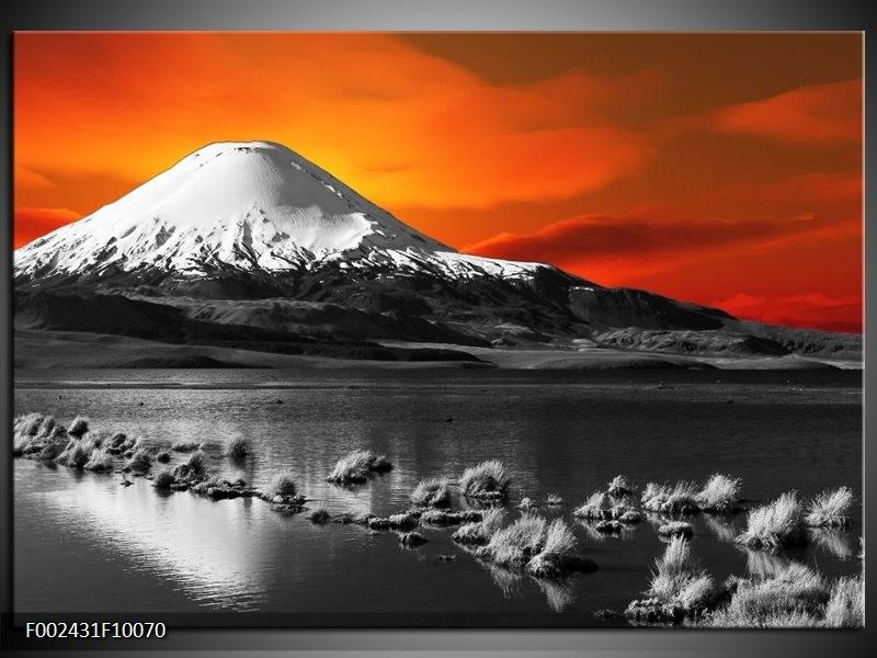 Foto canvas schilderij Bergen | Oranje, Wit, Zwart