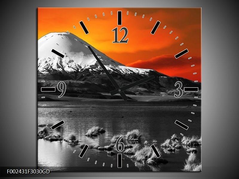 Wandklok op Glas Bergen | Kleur: Oranje, Wit, Zwart | F002431CGD