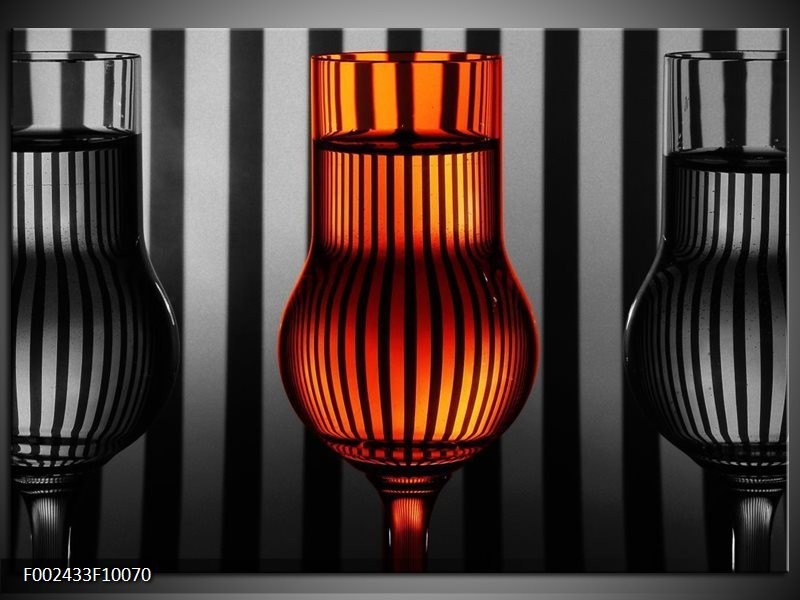 Foto canvas schilderij Glas   Oranje, Zwart, Grijs