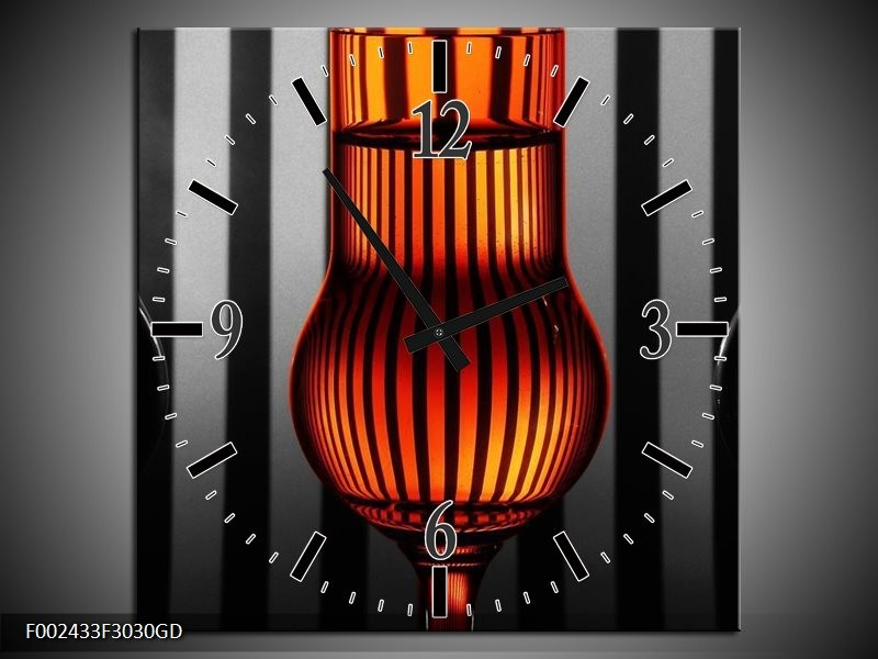 Wandklok op Glas Glas | Kleur: Oranje, Zwart, Grijs | F002433CGD