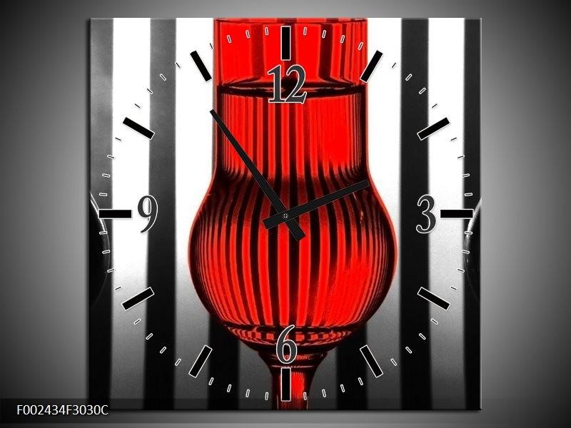 Wandklok op Canvas Glas | Kleur: Rood, Zwart, Grijs | F002434C