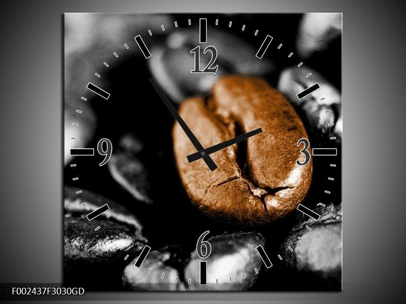 Wandklok op Glas Koffie | Kleur: Bruin, Zwart, Grijs | F002437CGD