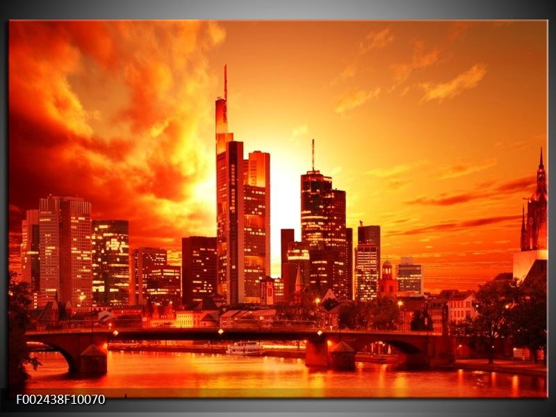 Foto canvas schilderij New York | Oranje, Geel, Grijs