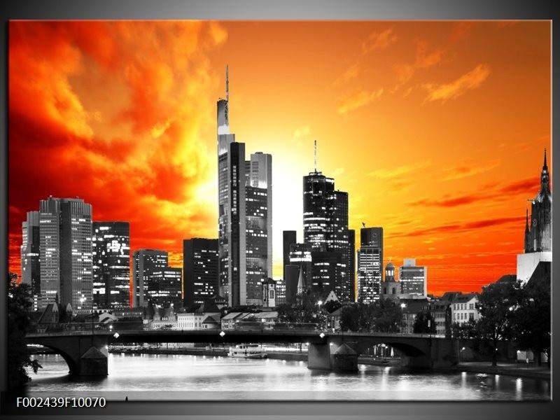 Foto canvas schilderij Gebouw | Grijs, Geel, Oranje