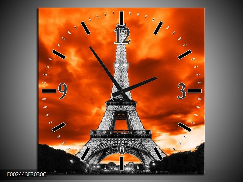 Wandklok op Canvas Parijs   Kleur: Rood, Grijs, Zwart   F002443C