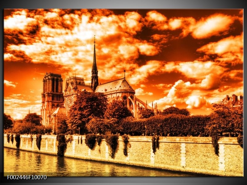 Foto canvas schilderij Parijs   Bruin, Geel, Wit