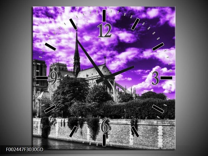 Wandklok op Glas Parijs | Kleur: Paars, Wit, Zwart | F002447CGD