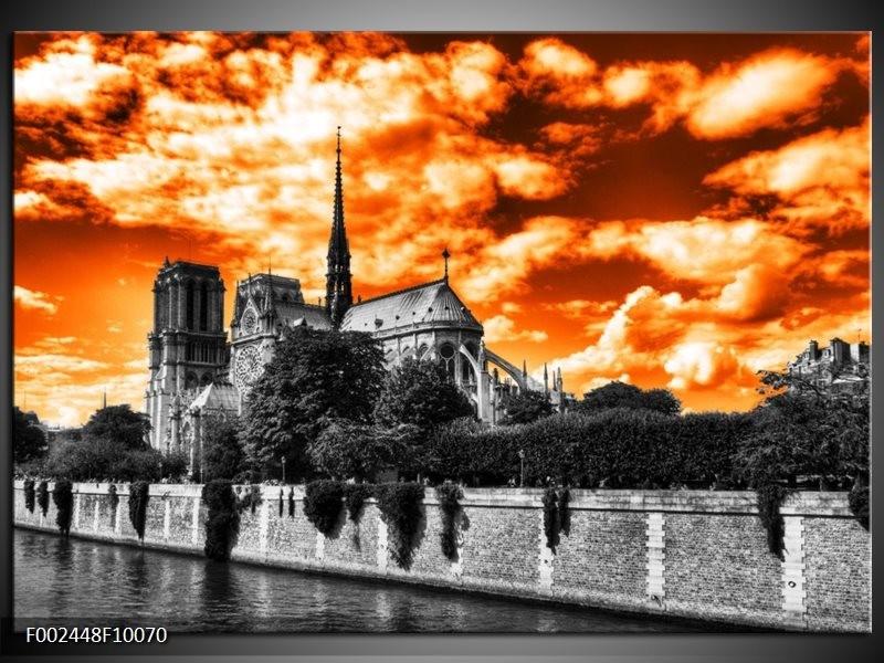 Foto canvas schilderij Parijs   Oranje, Wit, Zwart