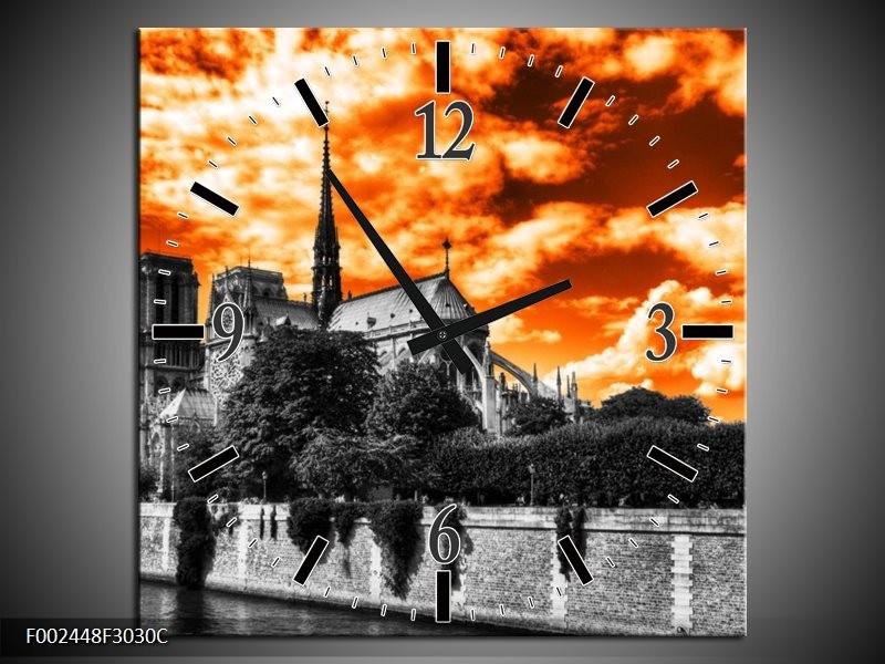 Wandklok op Canvas Parijs | Kleur: Oranje, Wit, Zwart | F002448C