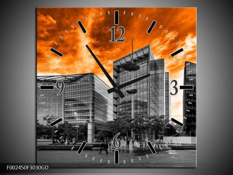 Wandklok op Glas Gebouw | Kleur: Oranje, Grijs, Zwart | F002450CGD