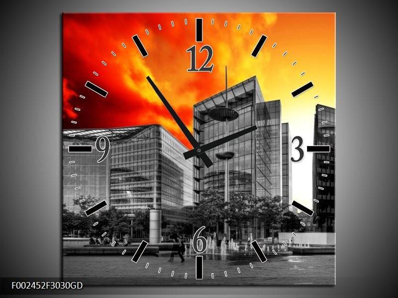 Wandklok op Glas Gebouw | Kleur: Grijs, Oranje, Geel | F002452CGD