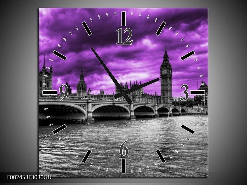 Wandklok op Glas Londen | Kleur: Paars, Grijs, Zwart | F002453CGD