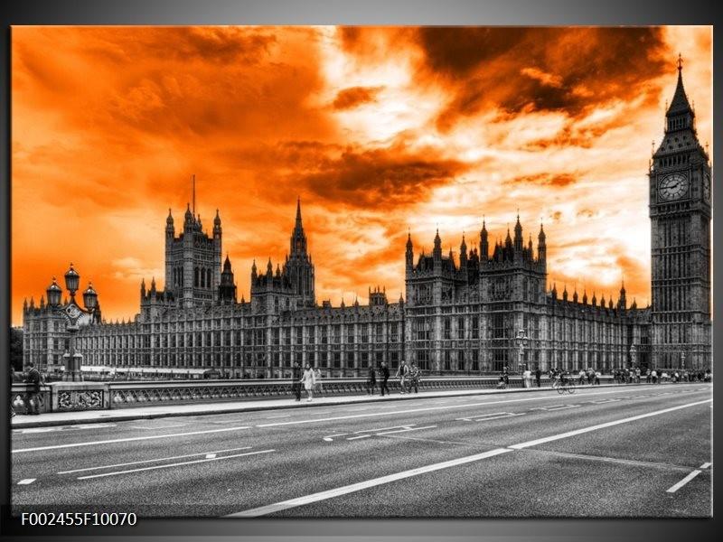 Foto canvas schilderij Londen | Oranje, Grijs, Zwart
