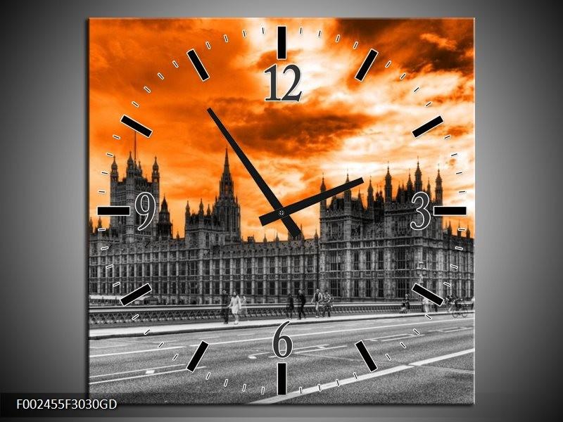 Wandklok op Glas Londen | Kleur: Oranje, Grijs, Zwart | F002455CGD