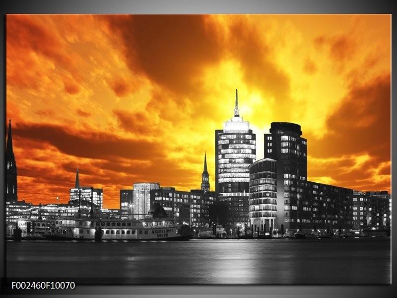 Foto canvas schilderij Gebouw | Oranje, Bruin, Grijs