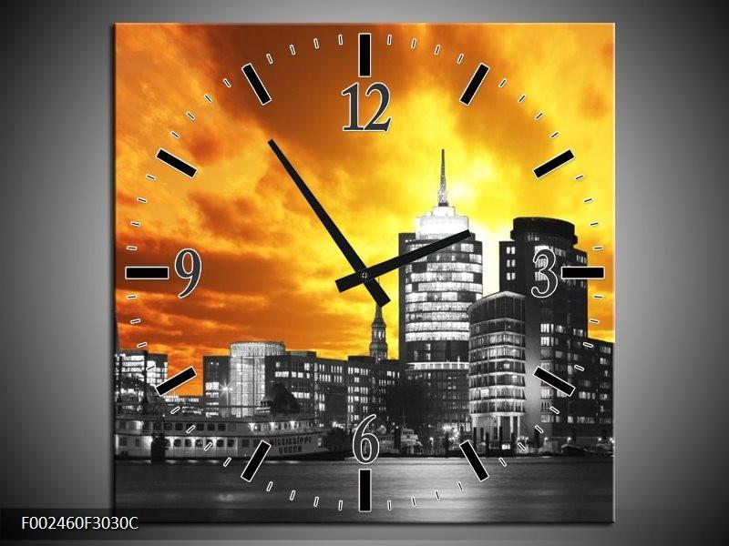 Wandklok op Canvas Gebouw | Kleur: Oranje, Bruin, Grijs | F002460C