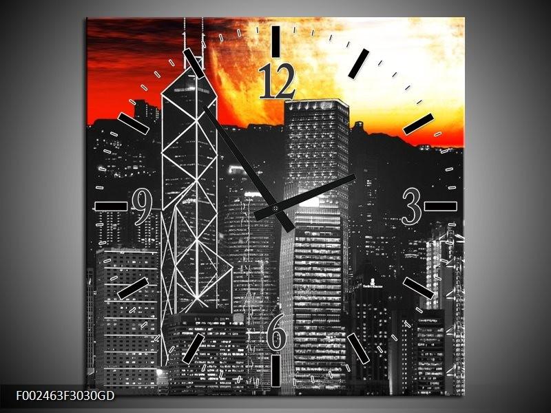 Wandklok op Glas Nacht | Kleur: Zwart, Rood, Geel | F002463CGD