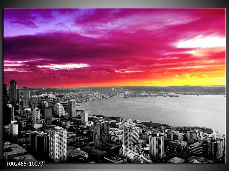 Foto canvas schilderij Uitzicht | Grijs, Paars, Roze