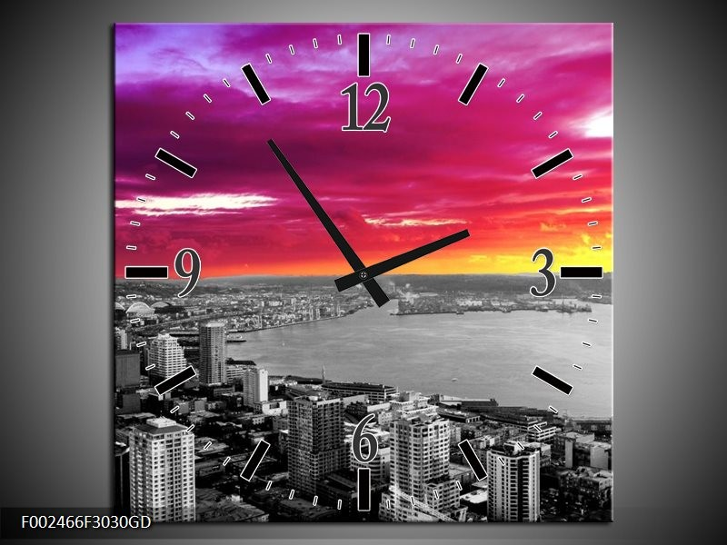 Wandklok op Glas Uitzicht | Kleur: Grijs, Paars, Roze | F002466CGD