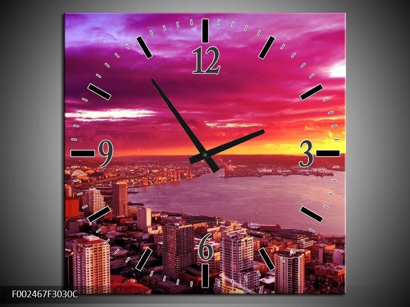 Wandklok op Canvas Uitzicht | Kleur: Roze, Geel, Oranje | F002467C
