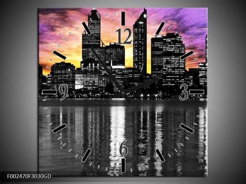 Wandklok op Glas Uitzicht | Kleur: Paars, Zwart, Geel | F002470CGD