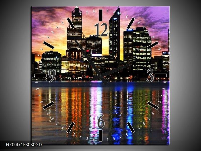 Wandklok op Glas Uitzicht | Kleur: Paars, Geel, Oranje | F002471CGD