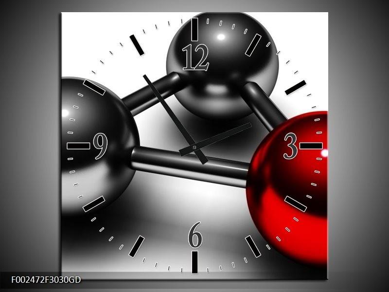 Wandklok op Glas Abstract   Kleur: Rood, Zwart, Grijs   F002472CGD