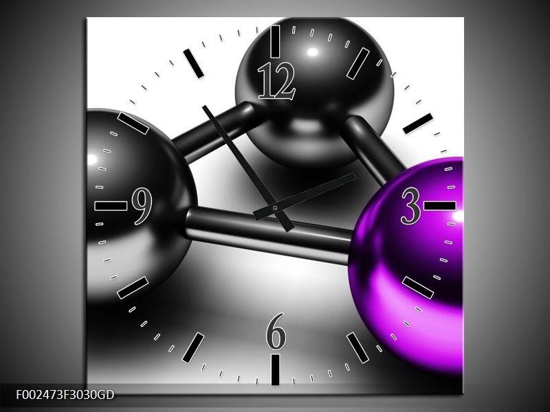 Wandklok op Glas Abstract | Kleur: Paars, Zwart, Grijs | F002473CGD