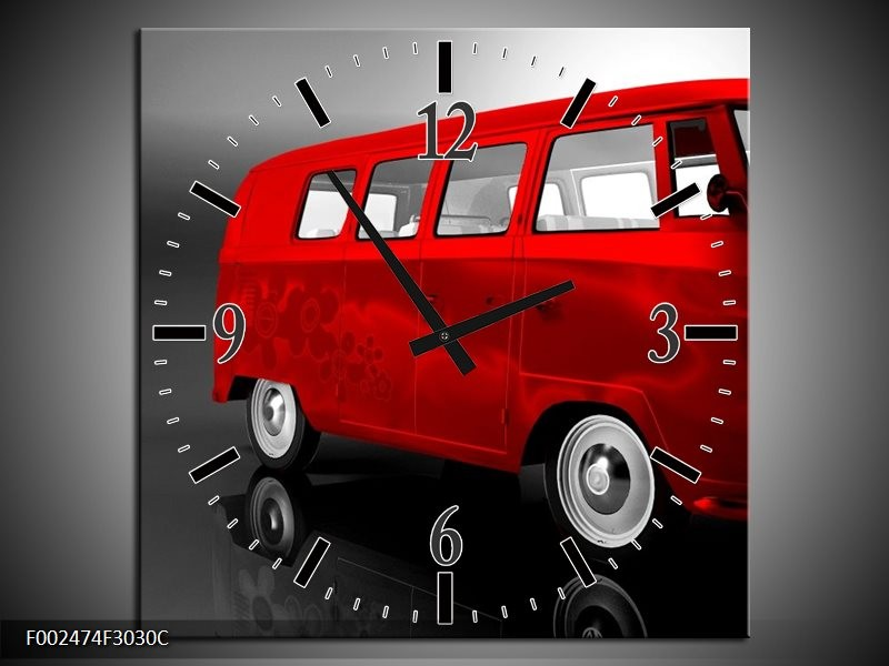 Wandklok op Canvas Auto | Kleur: Rood, Zwart, Grijs | F002474C