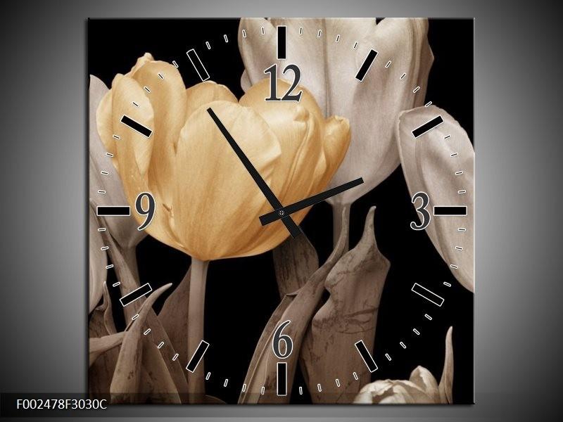 Wandklok op Canvas Tulpen | Kleur: Geel, Wit, Zwart | F002478C
