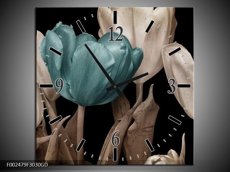 Wandklok op Glas Tulpen   Kleur: Blauw, Wit, Zwart   F002479CGD