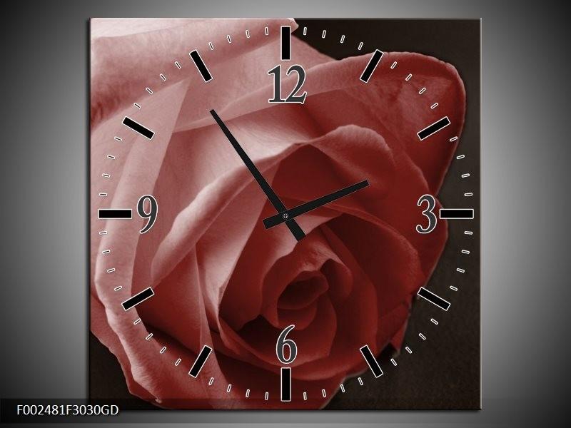 Wandklok op Glas Roos | Kleur: Bruin, Wit, Zwart | F002481CGD