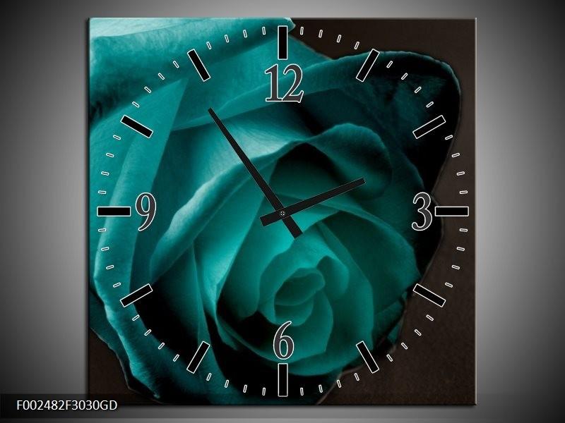 Wandklok op Glas Roos | Kleur: Blauw, Wit, Zwart | F002482CGD