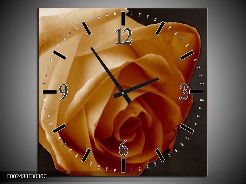 Wandklok op Canvas Roos | Kleur: Geel, Wit, Zwart | F002483C