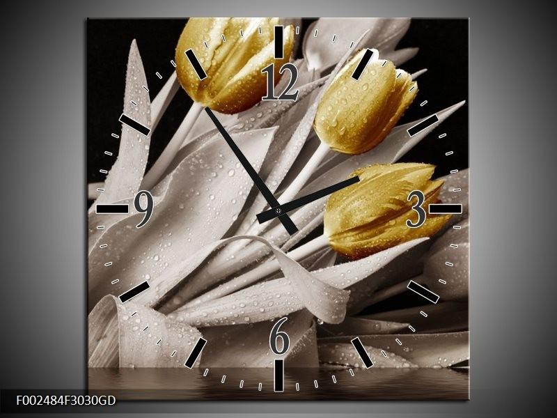 Wandklok op Glas Tulpen | Kleur: Geel, Wit, Zwart | F002484CGD
