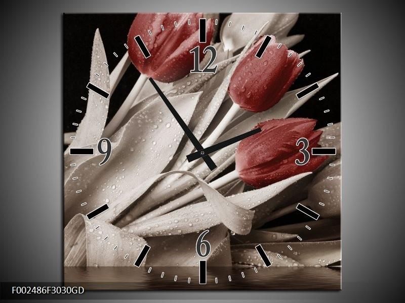 Wandklok op Glas Tulpen | Kleur: Bruin, Wit, Zwart | F002486CGD