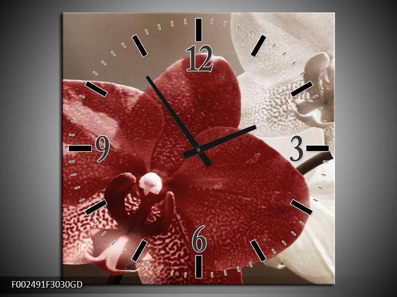 Wandklok op Glas Orchidee | Kleur: Bruin, Wit, Grijs | F002491CGD