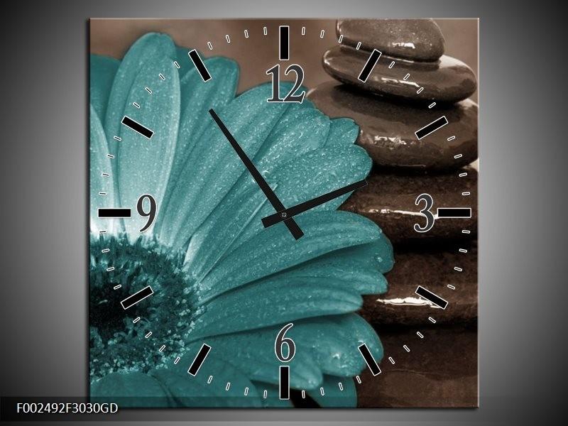 Wandklok op Glas Bloem | Kleur: Blauw, Wit, Grijs | F002492CGD