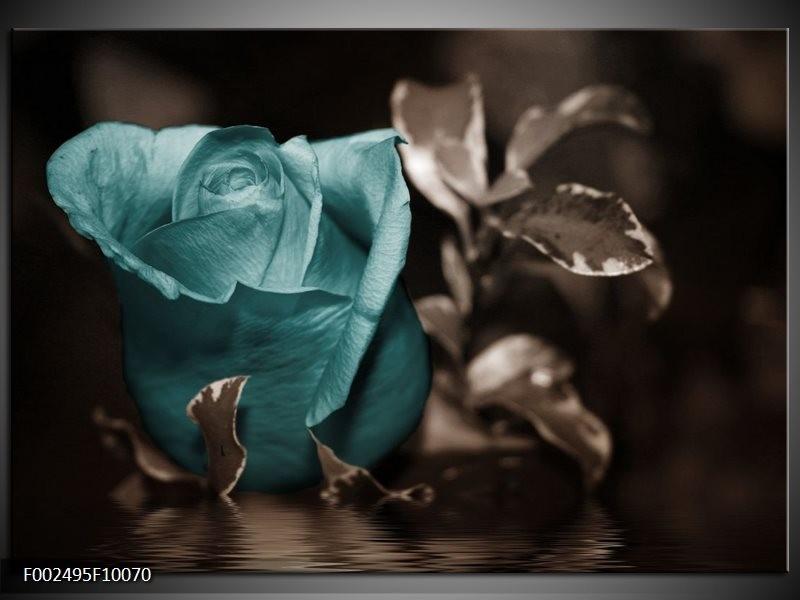 Foto canvas schilderij Roos | Blauw, Wit, Grijs