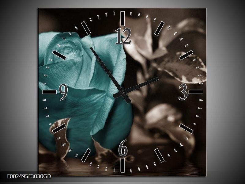 Wandklok op Glas Roos | Kleur: Blauw, Wit, Grijs | F002495CGD