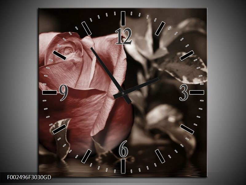 Wandklok op Glas Roos | Kleur: Bruin, Wit, Grijs | F002496CGD