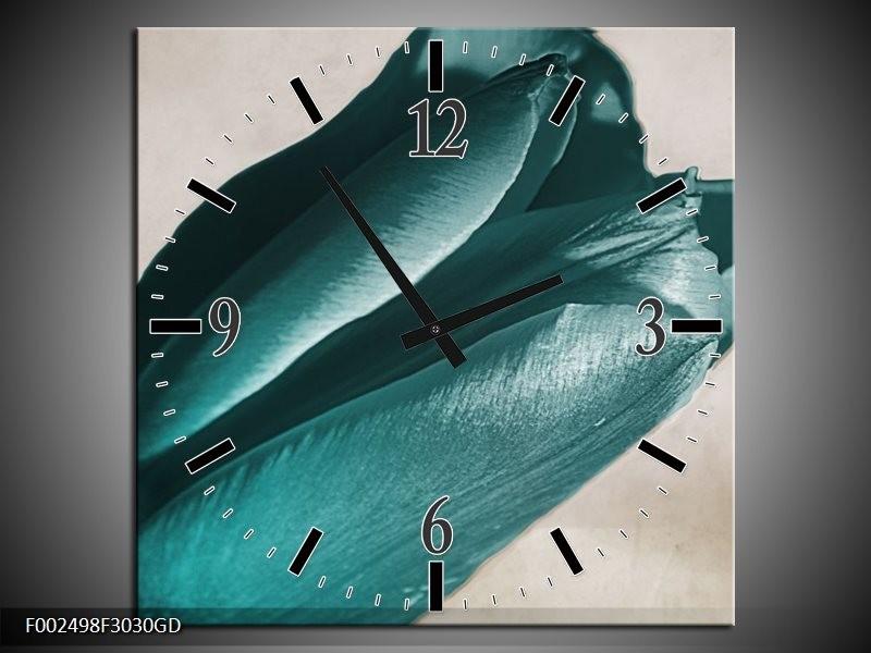 Wandklok op Glas Tulp | Kleur: Blauw, Grijs, Wit | F002498CGD