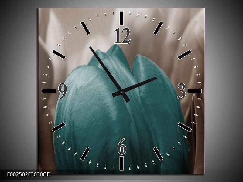 Wandklok op Glas Tulp | Kleur: Blauw, Grijs, Wit | F002502CGD