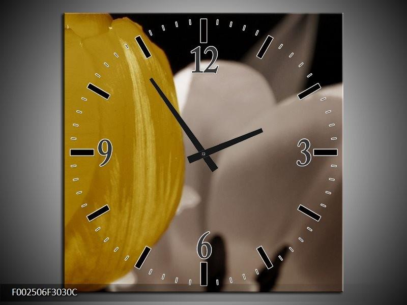 Wandklok op Canvas Tulp   Kleur: Geel, Grijs, Wit   F002506C