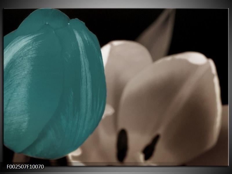 Foto canvas schilderij Tulp | Blauw, Grijs, Wit