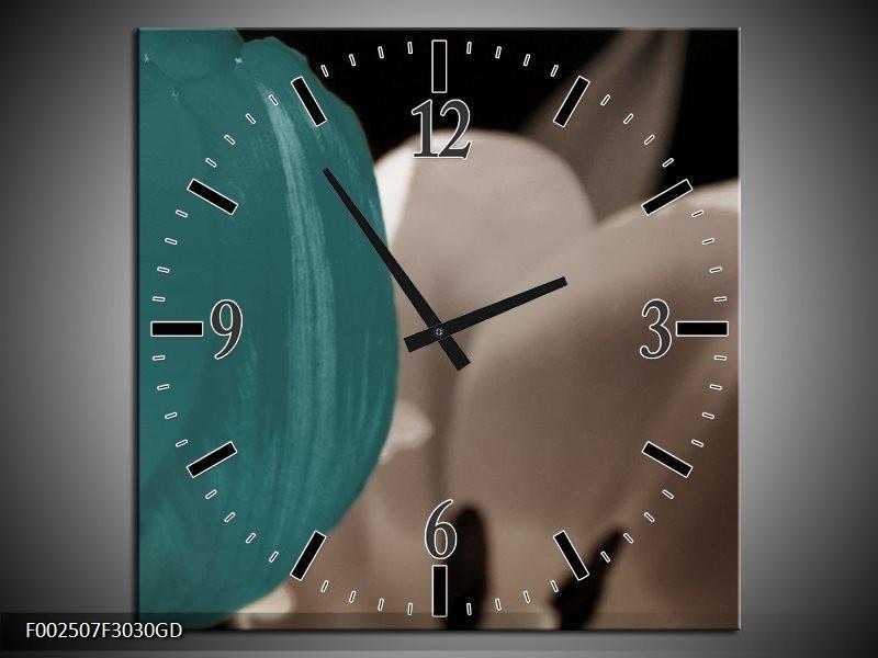 Wandklok op Glas Tulp | Kleur: Blauw, Grijs, Wit | F002507CGD
