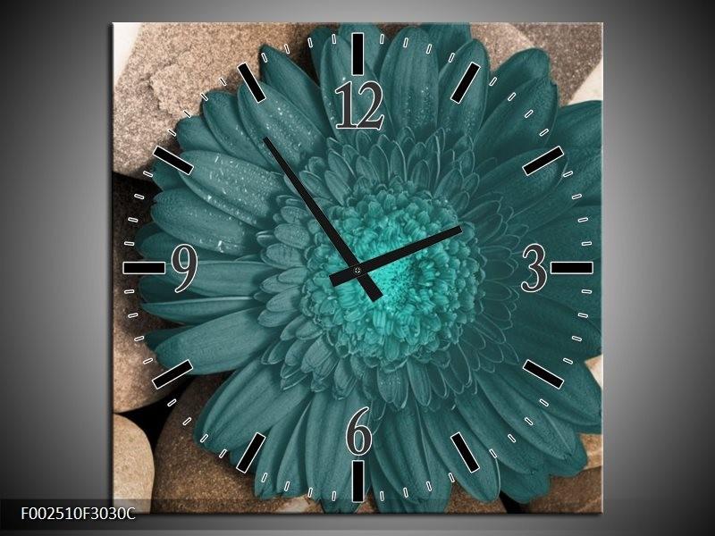 Wandklok op Canvas Bloem | Kleur: Blauw, Grijs, Wit | F002510C