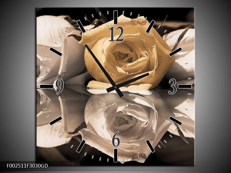 Wandklok op Glas Roos | Kleur: Geel, Grijs, Wit | F002511CGD